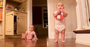 Aceste fetiţe gemene sustrag punga cu dulciuri din dulap. Reacţia lor adorabilă nu trebuie ratată