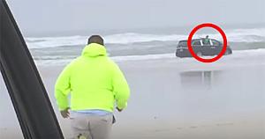 """""""Mama încearcă să ne omoare!"""" - O femeie însărcinată îşi conduce maşina direct în ocean, cu copiii ei ţipând în spate"""