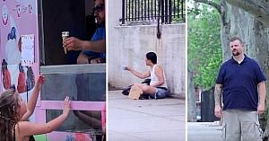 Tatăl este dezamăgit când vede că fiica lui cumpără îngheţată în loc să ajute un nevoiaş. În clipa următoare rămâne fără cuvinte