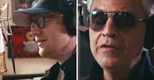 Ed Sheeran începe să cânte noua sa melodie, apoi Andrea Bocelli i se alătură într-un duet care face înconjurul lumii