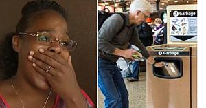 O tânără vede un om plângând, forţat să arunce cadoul în gunoiul din aeroport - ceea ce descoperă îi sfâşie inima