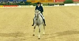 Calul şi călăreţul intră în arenă. Când muzica se schimbă, reprezentaţia lor îi lasă pe toţi fără cuvinte