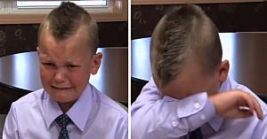 Un băieţel de 6 ani nu-şi poate stăpâni lacrimile în timp ce-şi aminteşte de ziua în care a salvat viaţa tatălui său