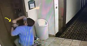 Managerul hotelului este îngrozit când vede lesa câinelui prinsă în lift. Ce surprinde camera de supraveghere este incredibil