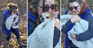 După 2 zile de căutări în pădurea îngheţată, proprietara nu se poate opri din plâns atunci când şi revede câinele