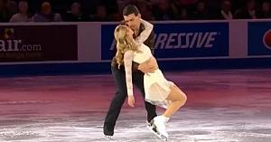 Bărbatul îşi îmbrăţişează soţia pe gheaţă. În câteva clipe reprezentaţia lor desăvârşită e demnă de toată lauda