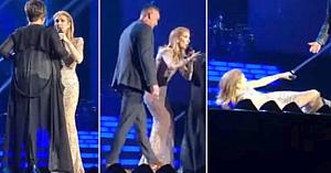 Céline Dion ajunge pe podeaua scenei după ce o fană înflăcărată năvăleşte lângă ea şi nu acceptă un refuz