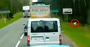 Un şofer prost-crescut aruncă gunoiul pe marginea drumului. Priviţi în partea dreaptă a şoselei când primeşte ceea ce merită