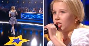 O fetiţă blondă păşeşte pe scenă, dar câteva clipe mai târziu o reprezentaţie neaşteptată îi lasă pe juraţi fără cuvinte