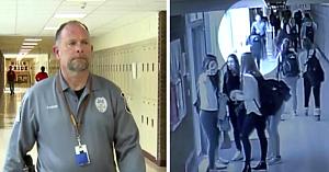 Ofiţerul patrula holurile liceului când o elevă îi atrage atenţia, forţându-l să intervină înainte de a fi prea târziu