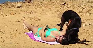 Această femeie voia să petreacă o zi relaxantă la plajă, însă câinele ei are cu totul alte planuri...