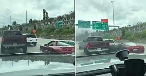 Şoferul maşinii sport nu lasă pick-up-ul să intre pe banda de mers - acum priviţi reacţia conducătorului camionetei